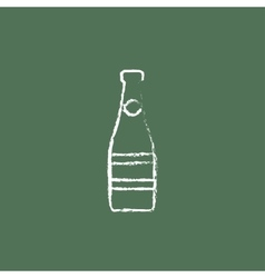 Glass bottle icon drawn in chalk vector image