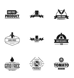 Gmo clean logo set simple style vector