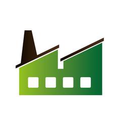 Green factory building icon vector
