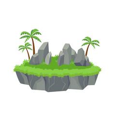 green island with blocks stones stone ledges palm vector image