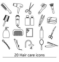 Hair care theme black simple outline icons set vector
