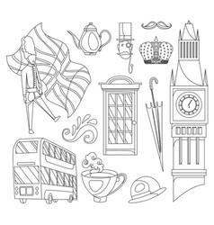 Hand drawn doodle united kingdom set vector