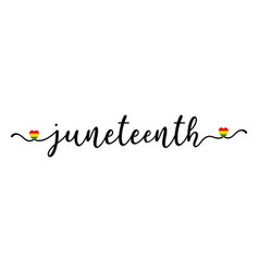 hand sketched juneteenth word with herts as banner vector image