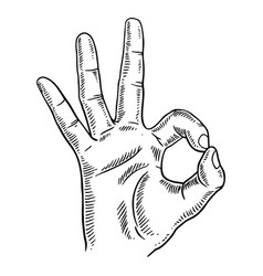 Hand with ok gesture engraving vector