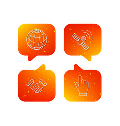 handshake globe and gps satellite icons vector image