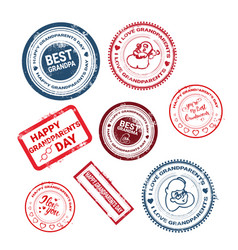 Happy grandparents day stamps collection greeting vector