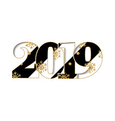 Happy new year card black striped number 2019 vector
