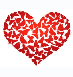 heart made of butterflies isolated eps8 vector image vector image