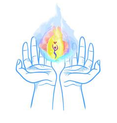 Heavenly fire in the hands vector
