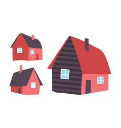houses made wood homes isolated icons vector image