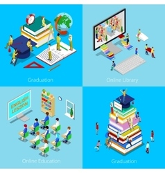 Isometric Educational Concept Online Education vector