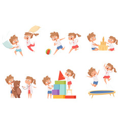 kids fun games children playing together pillow vector image