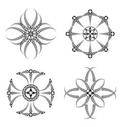 Laurel wreath tattoo icon set cross stylized vector
