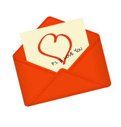 Letter in open red envelope vector