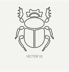 Line flat plain wildlife fauna icon bug vector