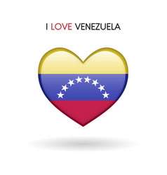 love venezuela symbol flag heart glossy icon on a vector image