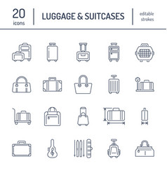 Luggage flat line icons carry-on hardside vector