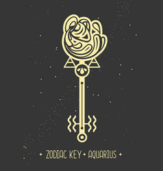 Magic card with astrology aquarius zodiac sign vector