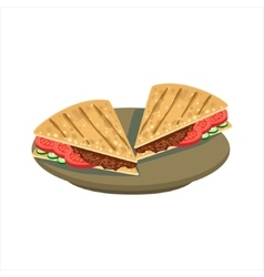 Meat Sandwich In Pita Bread Traditional Mexican vector