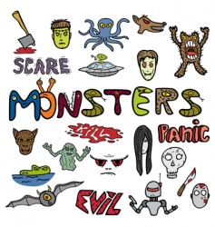 monster doodles vector image