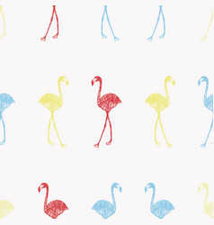 multicolor flamingo in pencil seamless white vector image