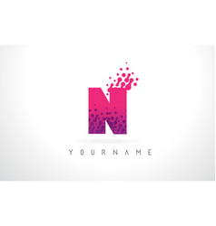 n letter logo with pink purple color and vector image
