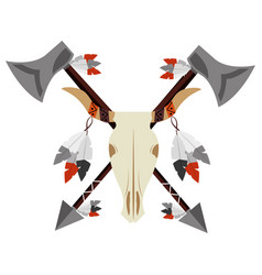 native american skull bull arrows weapons vector image