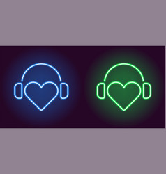 neon heart with headphones in blue and green color vector image