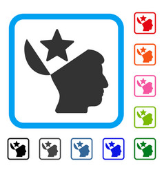 open head star framed icon vector image