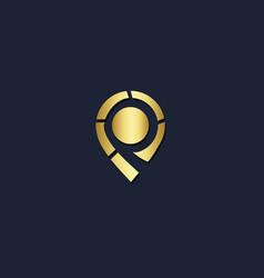 pin position gold logo vector image