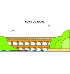 pont du gard line travel landmark skyline vector image