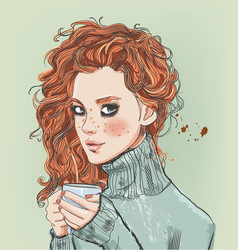 Portrait of beaitiful young woman with coffee cup vector
