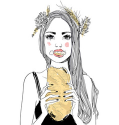 Portrait of young woman with bread vector