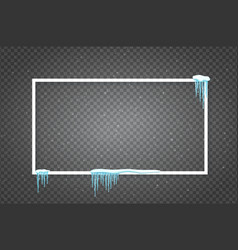 poster template with realistic snow and icicles vector image