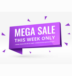 Purple 3d sale banner for promotion and marketing vector
