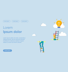 Reaching heights flat landing page template vector