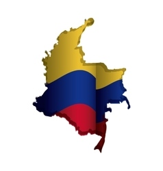 realistic colombian map with colorful flag inside vector image