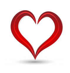 red heart swirly isolated vector image