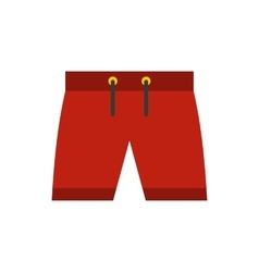 Red shorts for swimming icon icon flat style vector image