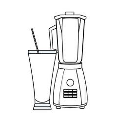 Refreshment fruit juice and blender in black and vector
