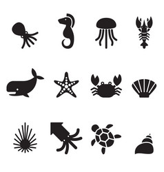 sea animal icon set vector image
