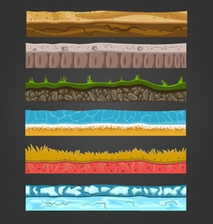 Seamless ground elements set landscape 2 vector