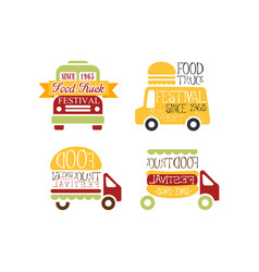 Set of abstract logo templates for food truck vector