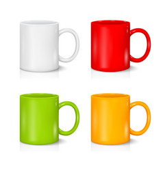 Set of colored mugs on the white vector
