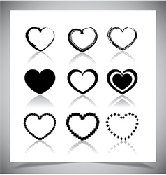 Set of heart icons vector