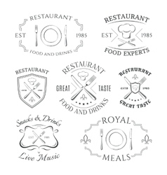 Set of heraldic restaurant logos labels and vector
