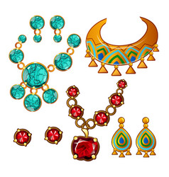 set of necklaces and earrings with colorful vector image