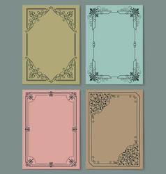 Set of vintage frames decorative border corners vector