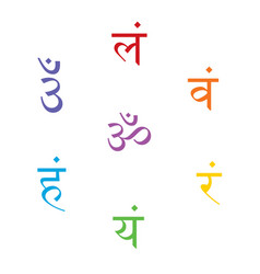 Seven bija mantras chakras set sanskrit sign vector