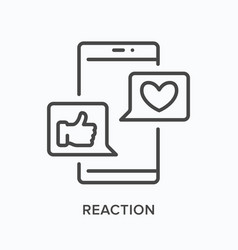smartphone with reaction notifications flat line vector image